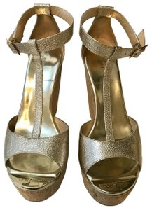 Jimmy Choe Metallic Gold Platforms