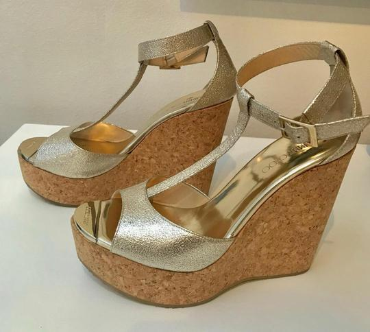 Jimmy Choe Metallic Gold Platforms Image 1