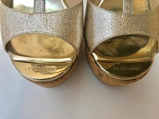Jimmy Choe Metallic Gold Platforms Image 4