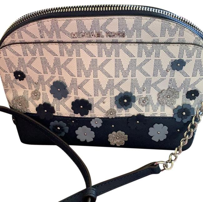 Michael Kors With Ornate Designs Dark Blue Blues Mk Logo On Back Tiny Silver Flowers. Leather Cross Body Bag Michael Kors With Ornate Designs Dark Blue Blues Mk Logo On Back Tiny Silver Flowers. Leather Cross Body Bag Image 1