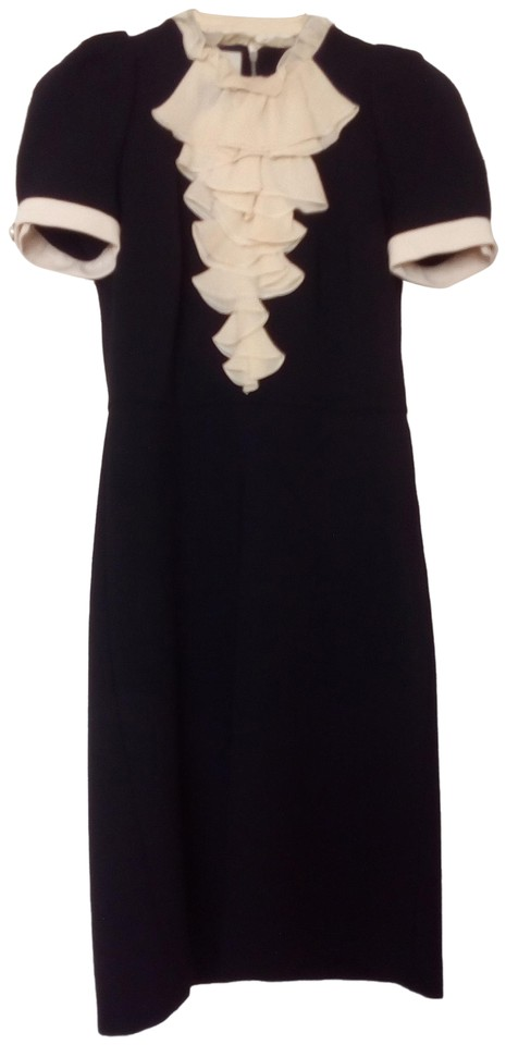 07a896bc1c Gucci Black and Ivory Compact Viscose Jersey W Georgette Mid-length ...