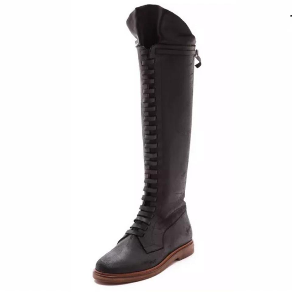 3d021c5f694 MM6 Maison Martin Margiela Black Runway Leather Lace Up Boots/Booties Size  EU 37 (Approx. US 7) Regular (M, B) 68% off retail