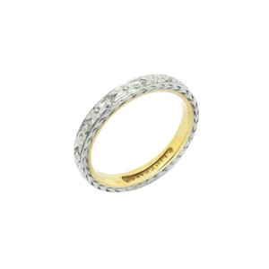 18k Gold Two Tone Engraved Orange Blossom Ring Women's Wedding Band