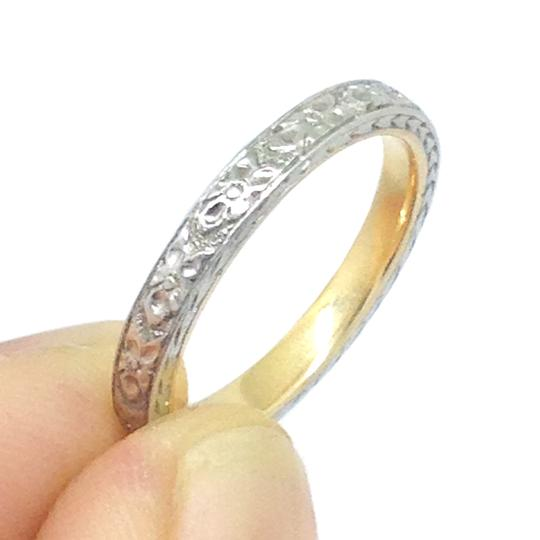 18k Gold Two Tone Engraved Orange Blossom Ring Women's Wedding Band Image 6