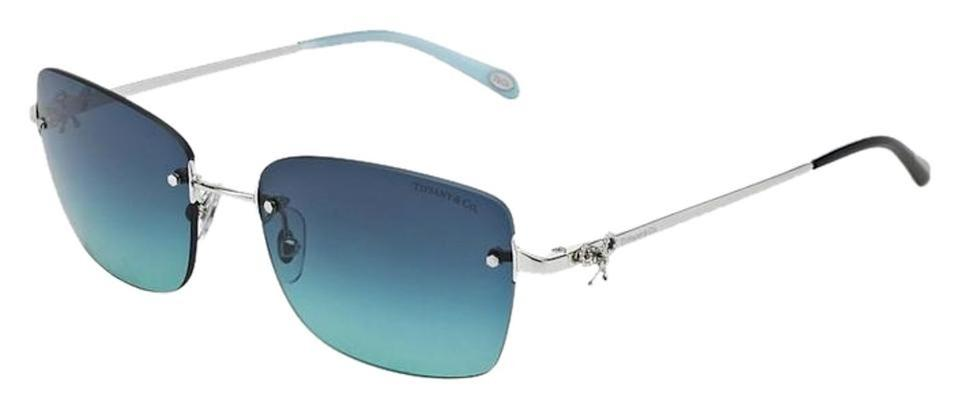 1c3cdb63c921 Tiffany   Co. Blue Silver Tf 3045 Tf3045 Aviator Twist Bow Ribbon Tie  Rimless Frameless Square Sunglasses