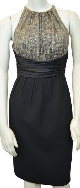 Carmen Marc Valvo Black/Bronze Halter Cocktail Dress Size 2 (XS) Carmen Marc Valvo Black/Bronze Halter Cocktail Dress Size 2 (XS) Image 1