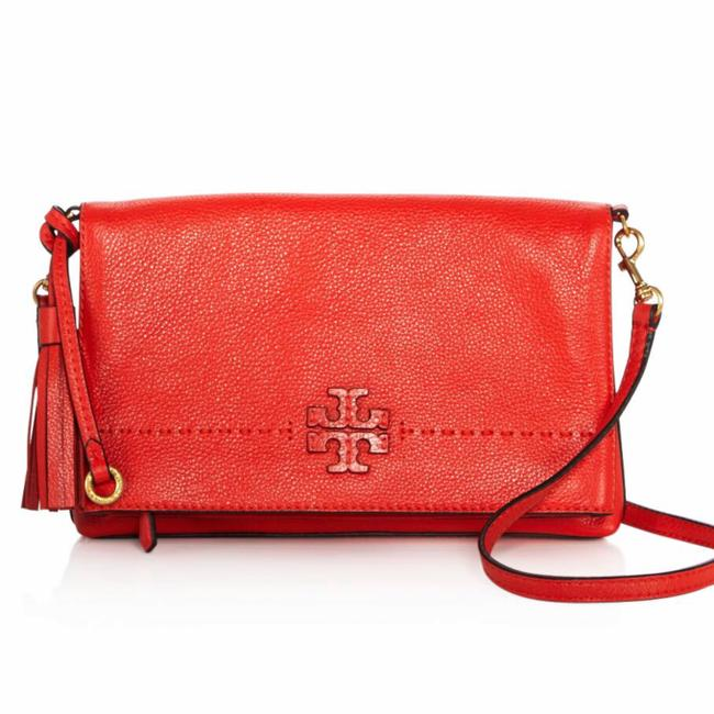 Tory Burch Mcgraw Fold-over Poppy Red Leather Cross Body Bag Tory Burch Mcgraw Fold-over Poppy Red Leather Cross Body Bag Image 1