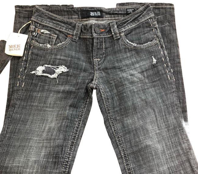 Gray Distressed Denim Straight Leg Jeans Size 4 (S, 27) Gray Distressed Denim Straight Leg Jeans Size 4 (S, 27) Image 1