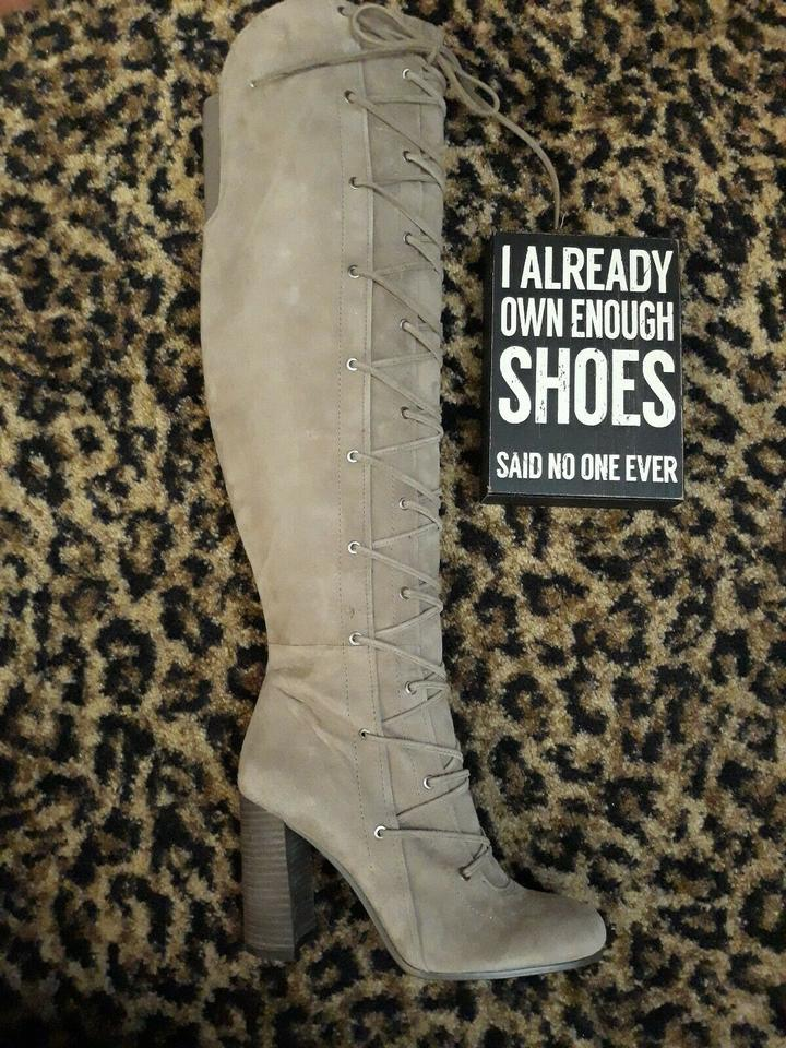 4604d5c454f Vince Camuto Gray Taupe Lace Tie Up Suede Knee High Thanta Sexy M Boots  Booties