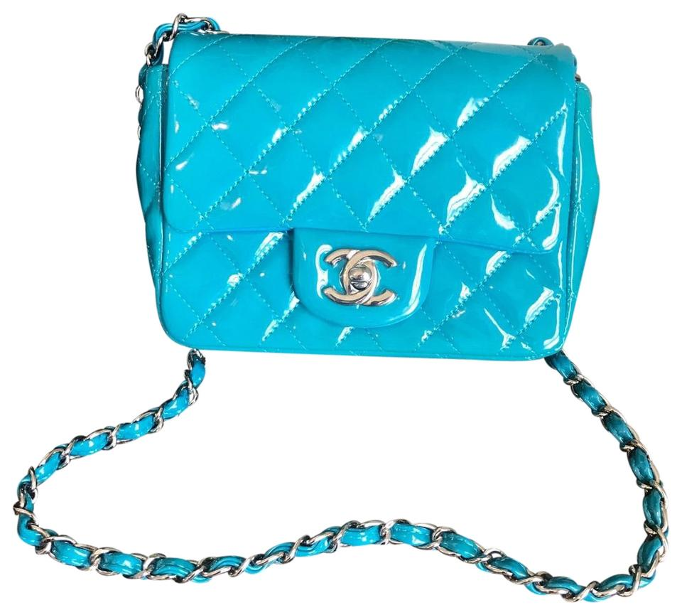 d2f4acaedad61f Chanel Classic Flap Mini Square Blue Patent Leather Shoulder Bag ...