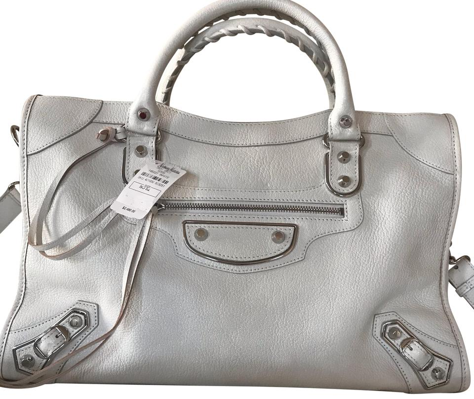 bf9dcb1876 Balenciaga Metallic Edge City Cream White Leather Satchel - Tradesy