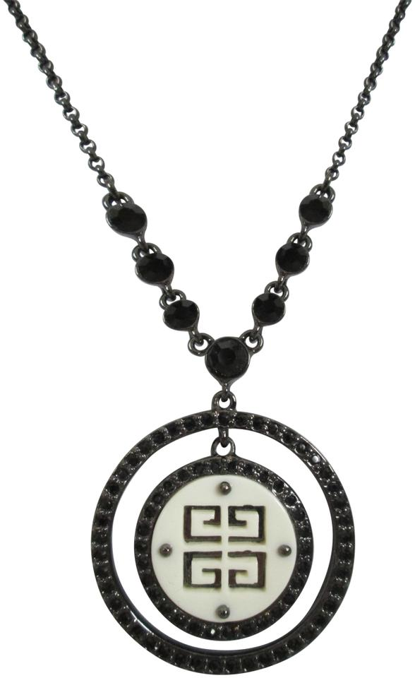 9226c81fb6 Givenchy Vintage White Carved Logo Black Crystal Round Pendant Chain  Necklace Image 0 ...