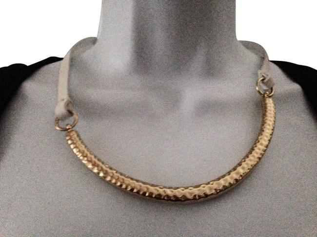 Brooks Brothers Gold Bronze and White Leather Necklace Brooks Brothers Gold Bronze and White Leather Necklace Image 1