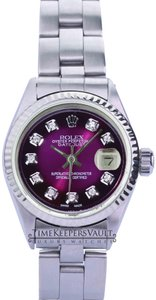 Rolex Rolex Lady Datejust Purple Diamond Dial Fluted Bezel 26mm Oyster Band