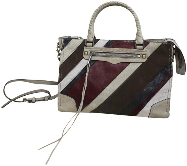 Rebecca Minkoff Striped Cowhide Grey Leather Shoulder Bag Rebecca Minkoff Striped Cowhide Grey Leather Shoulder Bag Image 1