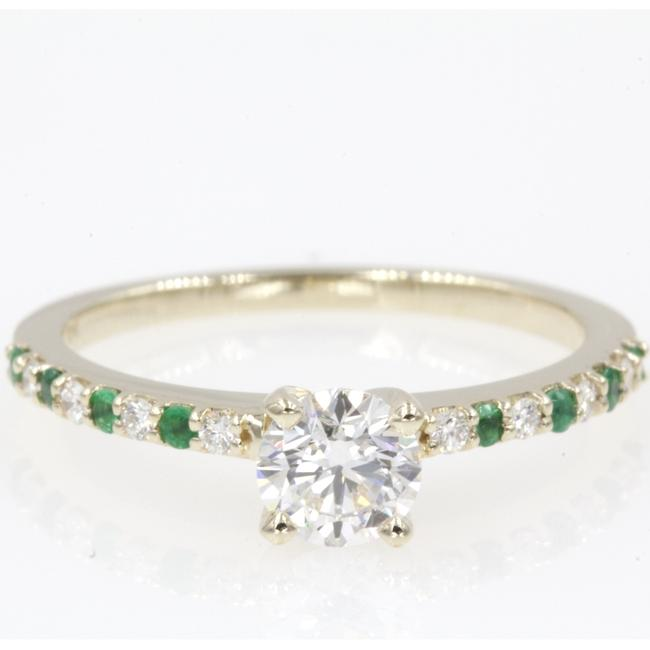 14k Yellow Gold .61 Carat Round Cut with Emerald Engagement Ring 14k Yellow Gold .61 Carat Round Cut with Emerald Engagement Ring Image 1