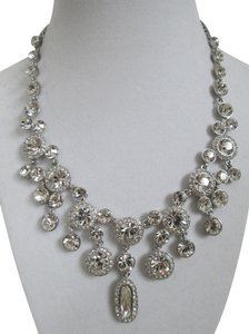 Givenchy Clear Swarovski Crystal Cluster Silver Tone Statement Necklace