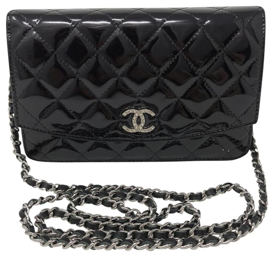 0a5c63d3b947 Chanel Wallet on Chain Quilted Brilliant Black Patent Leather Cross Body Bag
