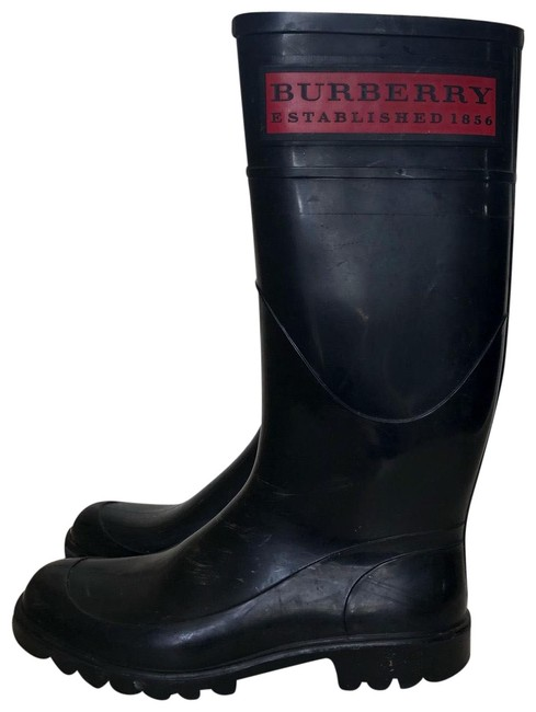 Burberry Black Check & Red Rainboots Boots/Booties Size US 5 Regular (M, B) Burberry Black Check & Red Rainboots Boots/Booties Size US 5 Regular (M, B) Image 1