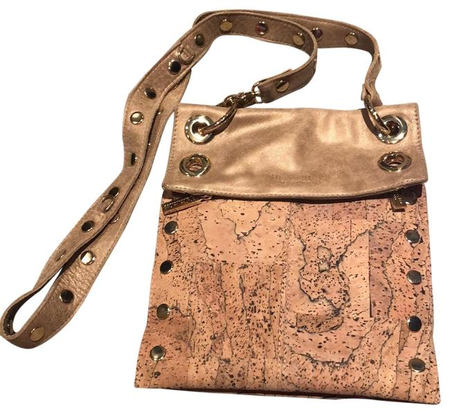 Hammitt Montana Adjustable In Neutral Colors Beige Leather/Cork Cross Body Bag Hammitt Montana Adjustable In Neutral Colors Beige Leather/Cork Cross Body Bag Image 1