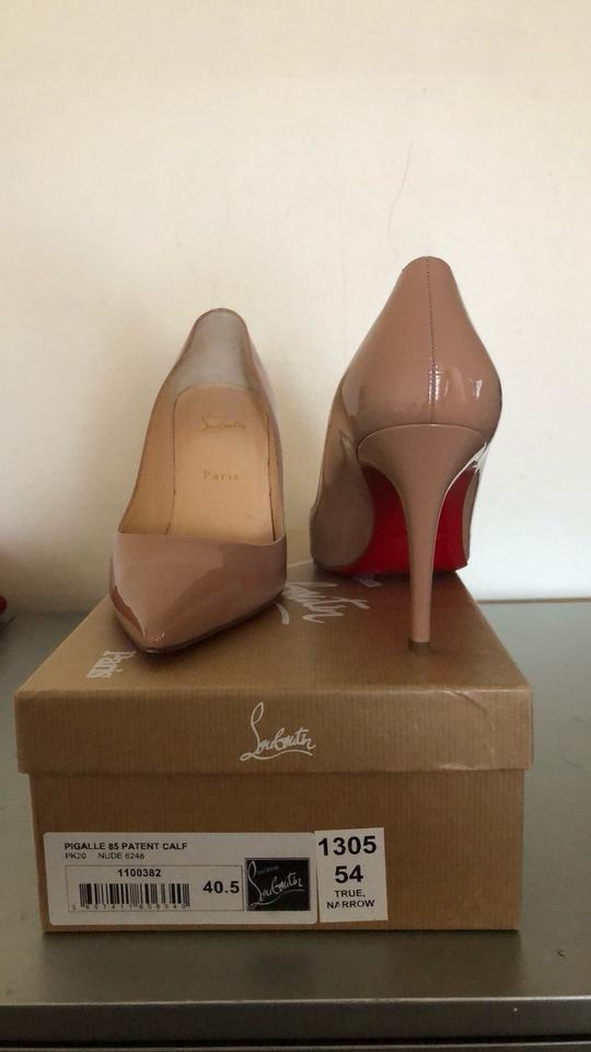 1927bf35f00e Christian Louboutin Nude Pigalle Follies 85 Patent Heels Pumps Size ...