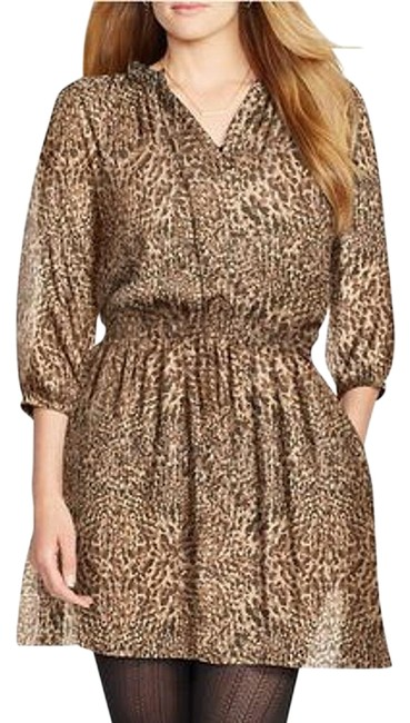 Preload https://img-static.tradesy.com/item/24947355/lauren-ralph-lauren-black-brown-georgette-animal-print-blouson-16w-short-casual-dress-size-16-xl-plu-0-1-650-650.jpg