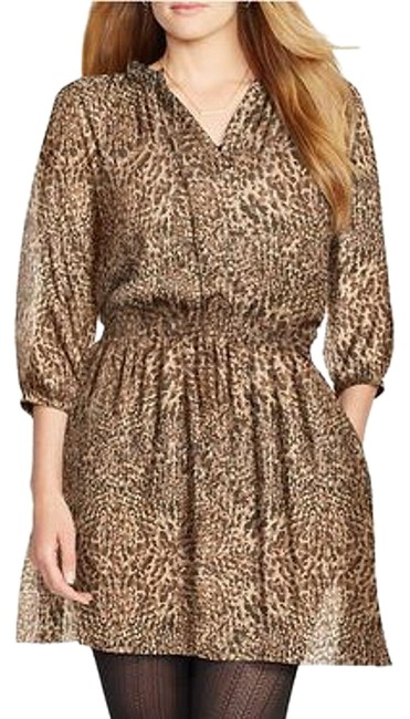 Lauren Ralph Lauren Black Brown Georgette Animal Print Blouson 18w Short Casual Dress Size 18 (XL, Plus 0x) Lauren Ralph Lauren Black Brown Georgette Animal Print Blouson 18w Short Casual Dress Size 18 (XL, Plus 0x) Image 1