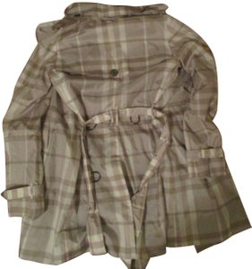 Burberry Polyester Nylon Plaid Trench Coat