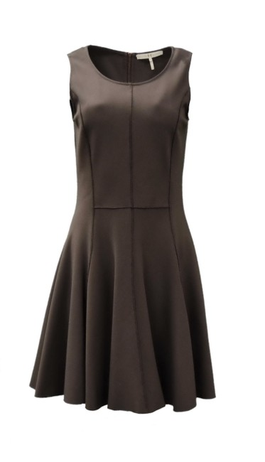 Preload https://img-static.tradesy.com/item/24947554/halston-brown-ponte-knit-fit-and-flare-workoffice-dress-size-4-s-0-0-650-650.jpg