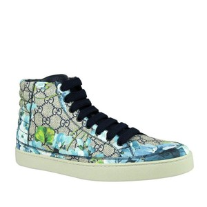 Gucci Blue Bloom Print Supreme Gg Canvas Hi Top Sneaker 407342 8470 Shoes