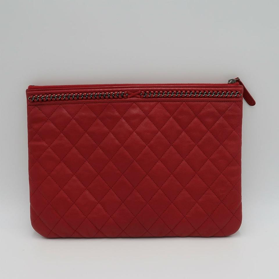 b61db47d6be9e3 Chanel Quilted Medium O Case with Chain Detail Red Calfskin Leather ...