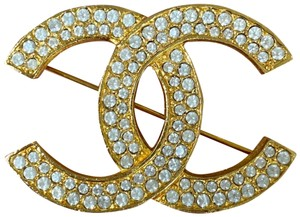 Chanel Large CC Crystals Rhinestones Gold Plated Vintage Pin Brooch