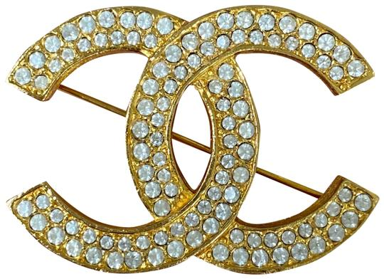 Preload https://img-static.tradesy.com/item/24947643/chanel-gold-large-cc-crystals-rhinestones-plated-vintage-pin-brooch-0-4-540-540.jpg
