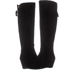 a536d8be9cfb Anne Klein Black Boots. Anne Klein Black Azriel Wide Calf Wedge Knee High  ...