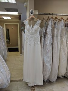 Maggie Sottero Ivory/Pewter Satin Estelle Feminine Wedding Dress Size 12 (L)