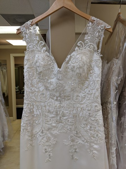 Maggie Sottero Ivory/Pewter Satin Estelle Feminine Wedding Dress Size 12 (L) Image 2