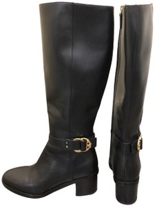 Tory Burch Leather Monogram Gold Hardware Black Boots