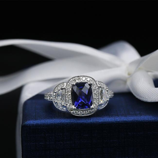 Unbranded 14k White Gold Amazing Sapphire Ring Unbranded 14k White Gold Amazing Sapphire Ring Image 1