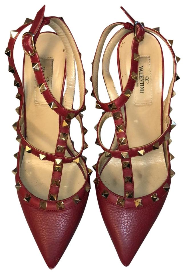 955951e8646 Valentino Red Rockstud Heels In Matte Pumps Size EU 38 (Approx. US 8 ...