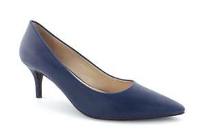 Cole Haan Pointed Toe Mid Heel Leather Comfy Power Blue Pumps