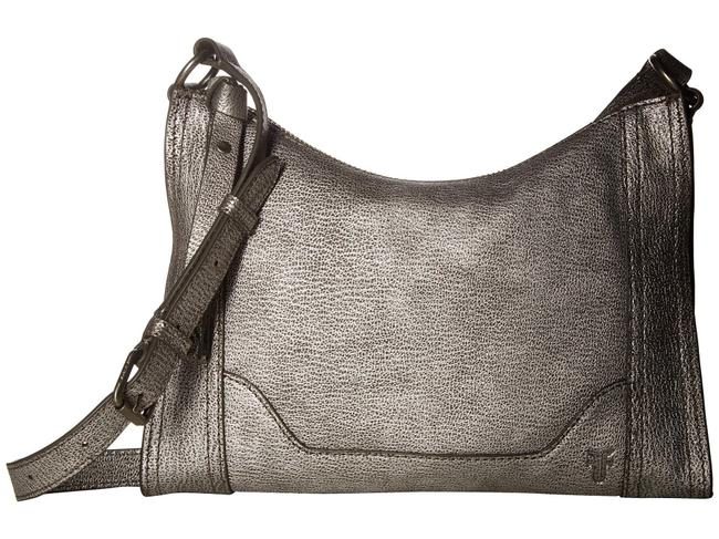Item - Metallic Melissa Zip Silver Leather Cross Body Bag