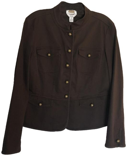 Item - Chocolate Brown Military Style Jacket Size Petite 12 (L)