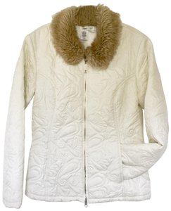 Coldwater Creek Faux Fur Decorative Stitching Jacket Quilted Jacket Coat