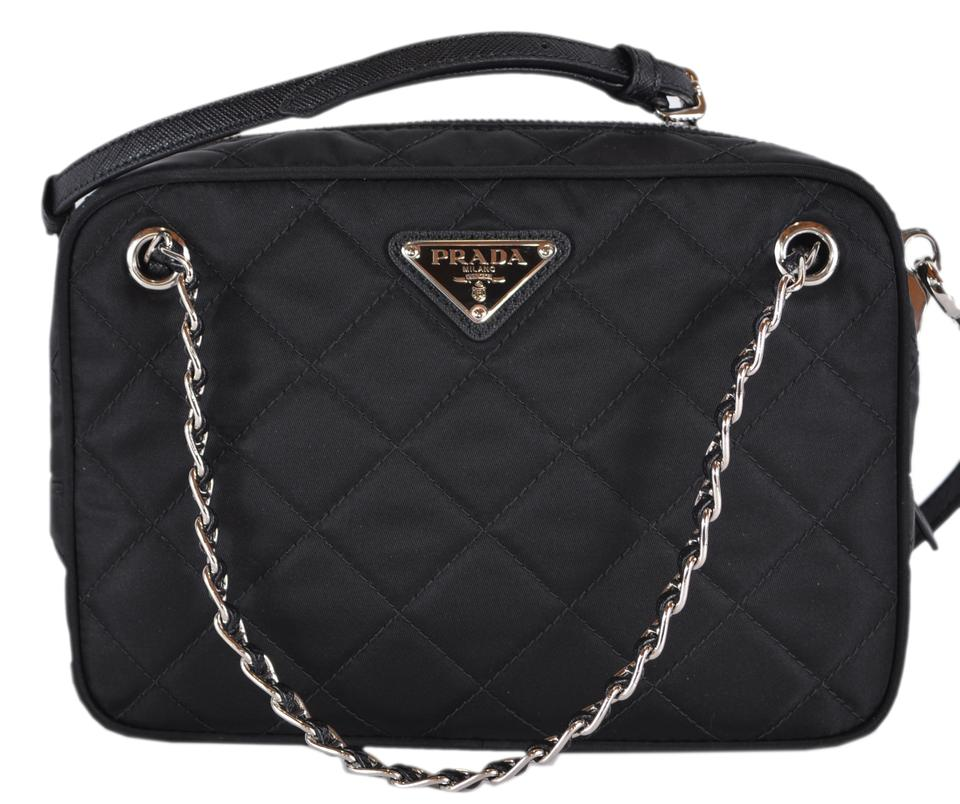cf0684b142fc Prada New Quilted Tessuto Bandoliera Purse Black Nylon Cross Body Bag
