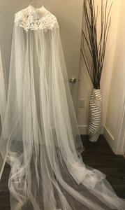 BHLDN Ivory Long Vincent Cape Bridal Veil