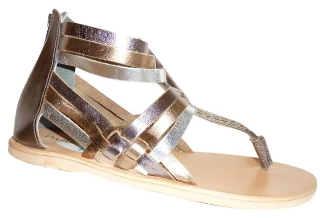Item - Gold and Silver Metallic Strappy with A Zipper In The Ba Sandals Size US 8 Regular (M, B)