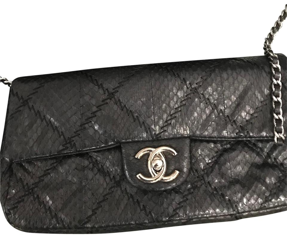 2898451ee9f2 Chanel Classic Flap Limited Edition Snakeskin Cross Stitch Black ...