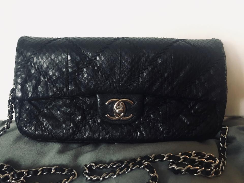 3d30c23a5f4d Chanel Classic Flap Limited Edition Snakeskin Cross Stitch Black Python  Skin Leather Shoulder Bag - Tradesy