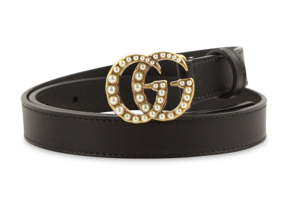 813d905e1eb Gucci Black Leather with Pearl Double Gg Buckle Belt - Tradesy