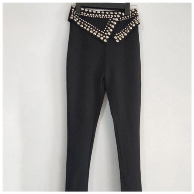Preload https://img-static.tradesy.com/item/24948476/black-and-silver-stud-fold-over-waist-stretch-pants-size-2-xs-26-0-0-650-650.jpg